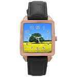 Tree In Field Rose Gold Leather Watch  Front