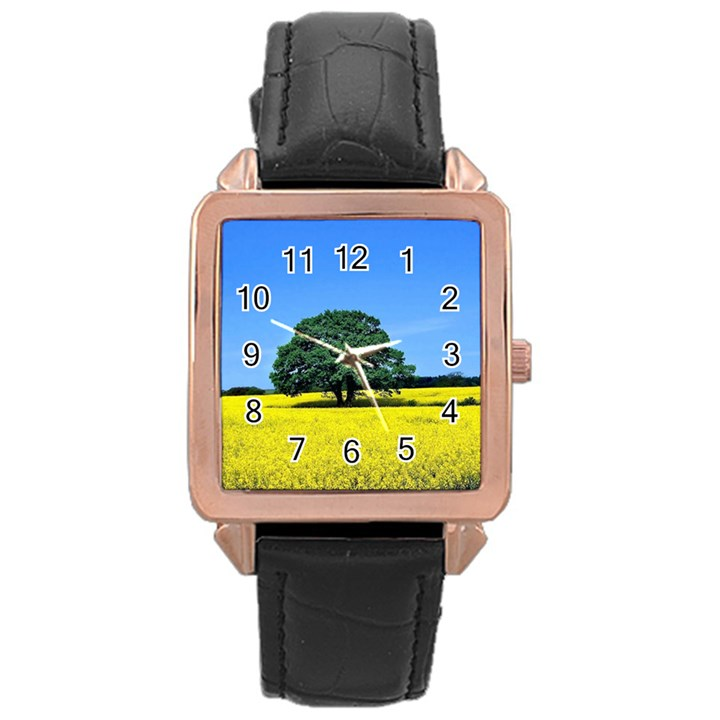 Tree In Field Rose Gold Leather Watch