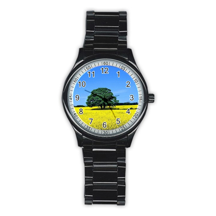Tree In Field Stainless Steel Round Watch