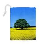 Tree In Field Drawstring Pouch (Large) Back