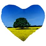 Tree In Field Large 19  Premium Flano Heart Shape Cushions Front