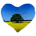 Tree In Field Large 19  Premium Flano Heart Shape Cushions Back