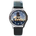 Winter Sunset Pine Tree Round Metal Watch Front