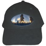 Winter Sunset Pine Tree Black Cap Front