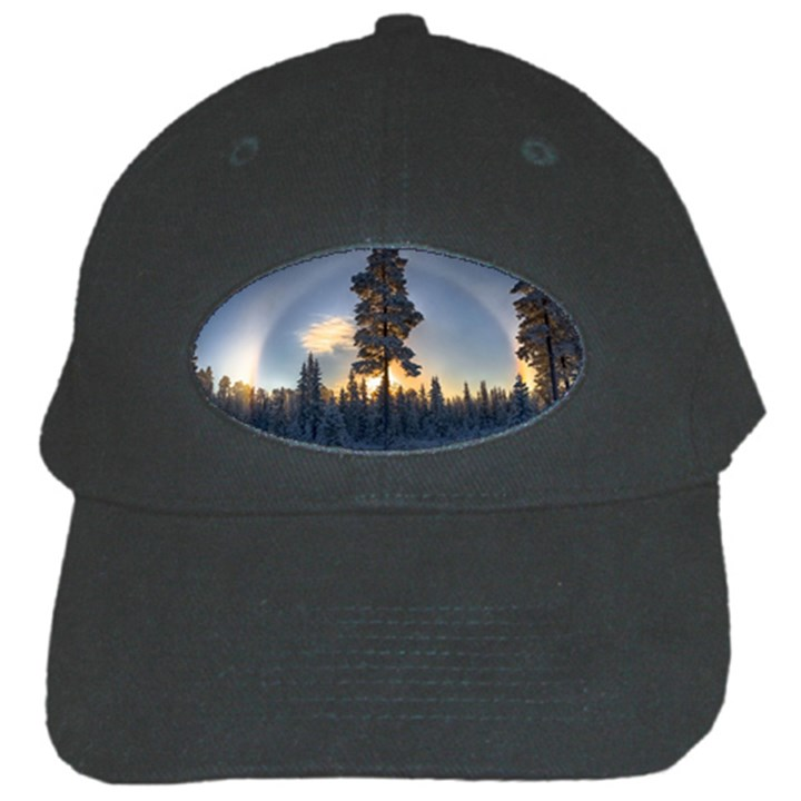 Winter Sunset Pine Tree Black Cap