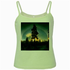 Winter Sunset Pine Tree Green Spaghetti Tank