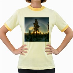 Winter Sunset Pine Tree Women s Fitted Ringer T Shirt