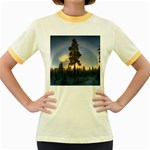 Winter Sunset Pine Tree Women s Fitted Ringer T-Shirt Front