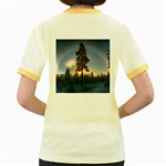 Winter Sunset Pine Tree Women s Fitted Ringer T-Shirt Back