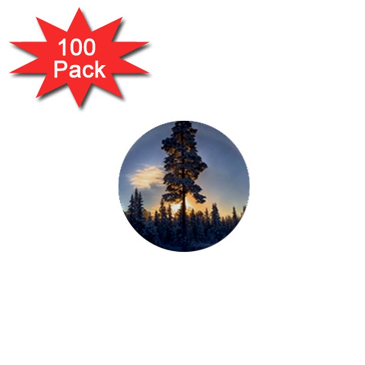Winter Sunset Pine Tree 1  Mini Buttons (100 pack)