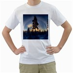 Winter Sunset Pine Tree Men s T-Shirt (White) (Two Sided) Front