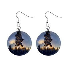 Winter Sunset Pine Tree Mini Button Earrings