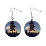 Winter Sunset Pine Tree Mini Button Earrings Front