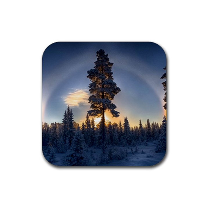 Winter Sunset Pine Tree Rubber Coaster (Square)