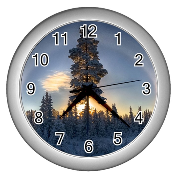 Winter Sunset Pine Tree Wall Clock (Silver)