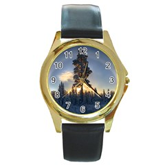 Winter Sunset Pine Tree Round Gold Metal Watch