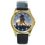Winter Sunset Pine Tree Round Gold Metal Watch Front