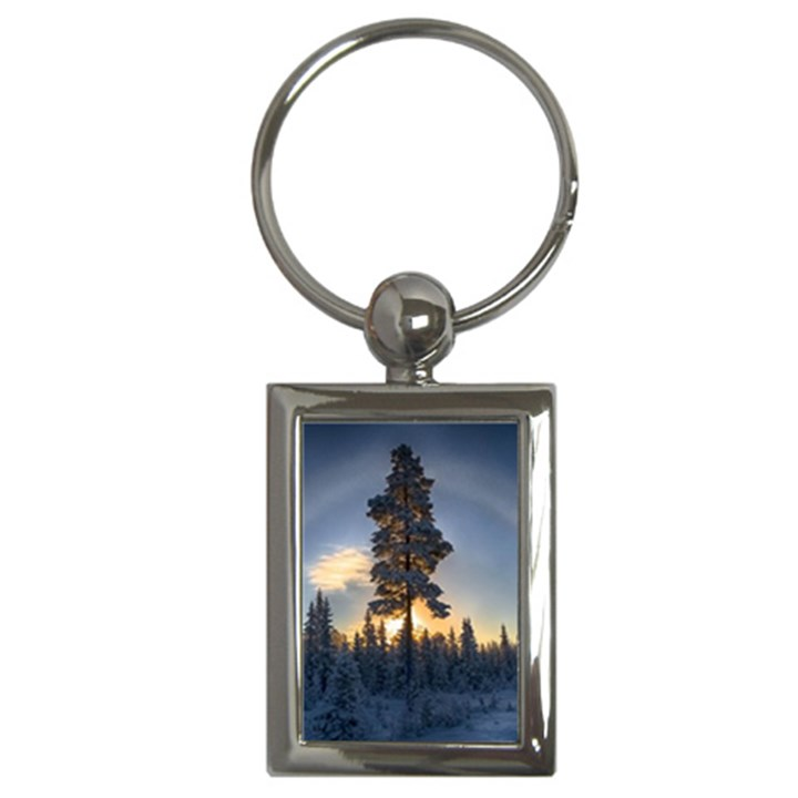 Winter Sunset Pine Tree Key Chains (Rectangle)