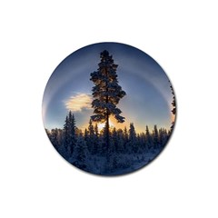 Winter Sunset Pine Tree Rubber Coaster (round)