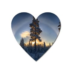Winter Sunset Pine Tree Heart Magnet by Alisyart