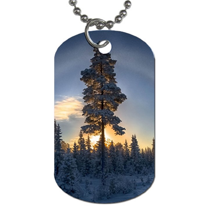 Winter Sunset Pine Tree Dog Tag (One Side)