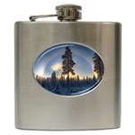 Winter Sunset Pine Tree Hip Flask (6 oz) Front