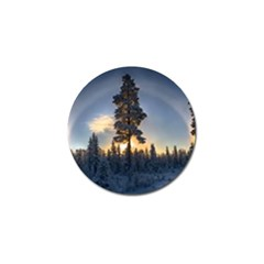 Winter Sunset Pine Tree Golf Ball Marker