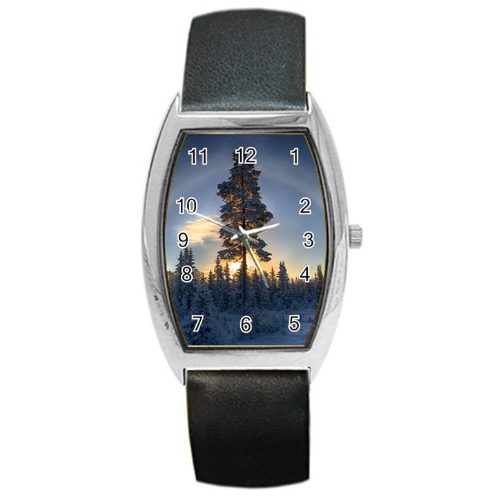 Winter Sunset Pine Tree Barrel Style Metal Watch