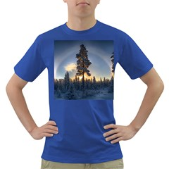 Winter Sunset Pine Tree Dark T Shirt