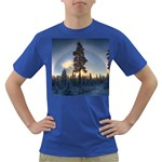 Winter Sunset Pine Tree Dark T-Shirt Front