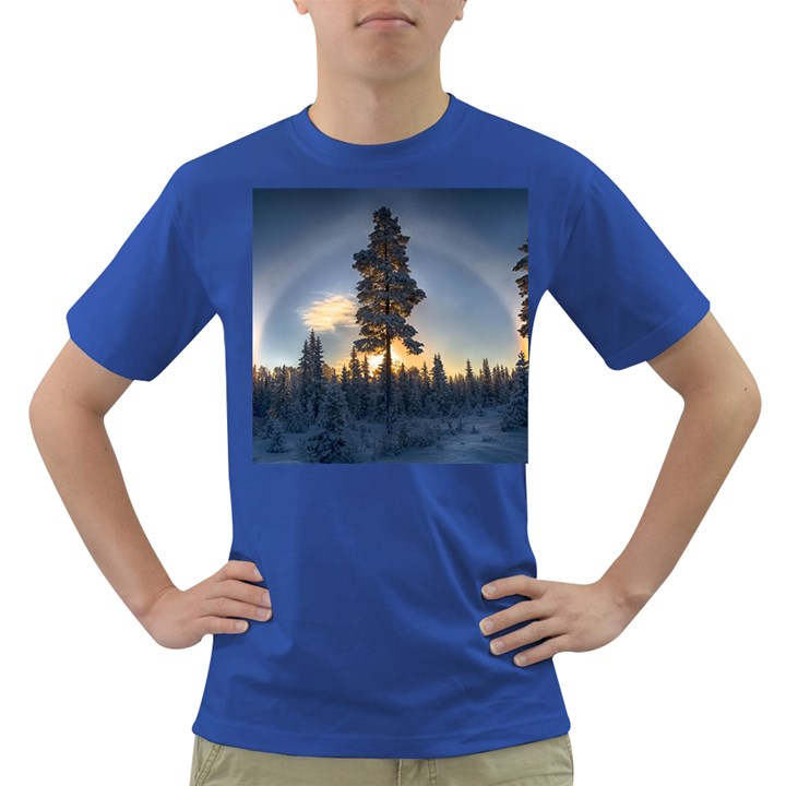 Winter Sunset Pine Tree Dark T-Shirt