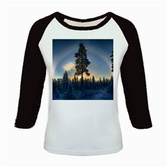 Winter Sunset Pine Tree Kids Baseball Jerseys