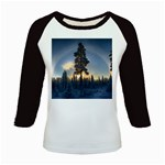 Winter Sunset Pine Tree Kids Baseball Jerseys Front