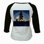 Winter Sunset Pine Tree Kids Baseball Jerseys Back