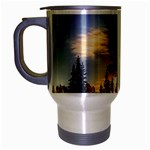 Winter Sunset Pine Tree Travel Mug (Silver Gray) Left