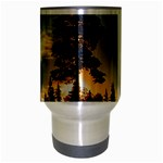 Winter Sunset Pine Tree Travel Mug (Silver Gray) Center