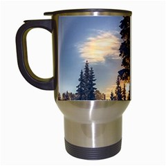 Winter Sunset Pine Tree Travel Mugs (white) by Alisyart