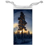 Winter Sunset Pine Tree Jewelry Bag Front