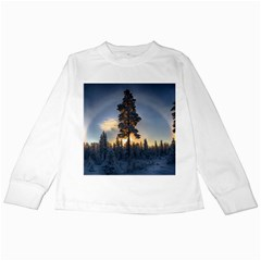 Winter Sunset Pine Tree Kids Long Sleeve T Shirts