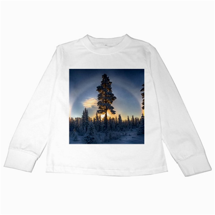 Winter Sunset Pine Tree Kids Long Sleeve T-Shirts