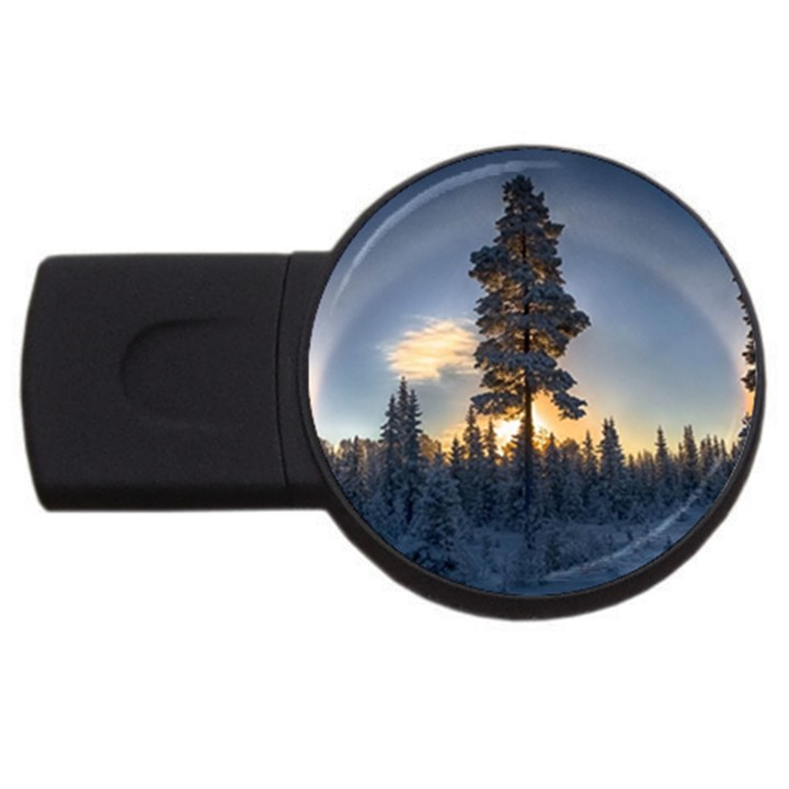 Winter Sunset Pine Tree USB Flash Drive Round (4 GB)