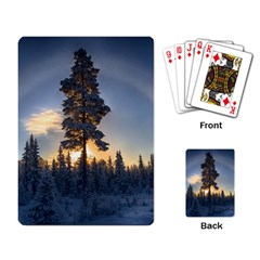 Winter Sunset Pine Tree Playing Cards Single Design by Alisyart