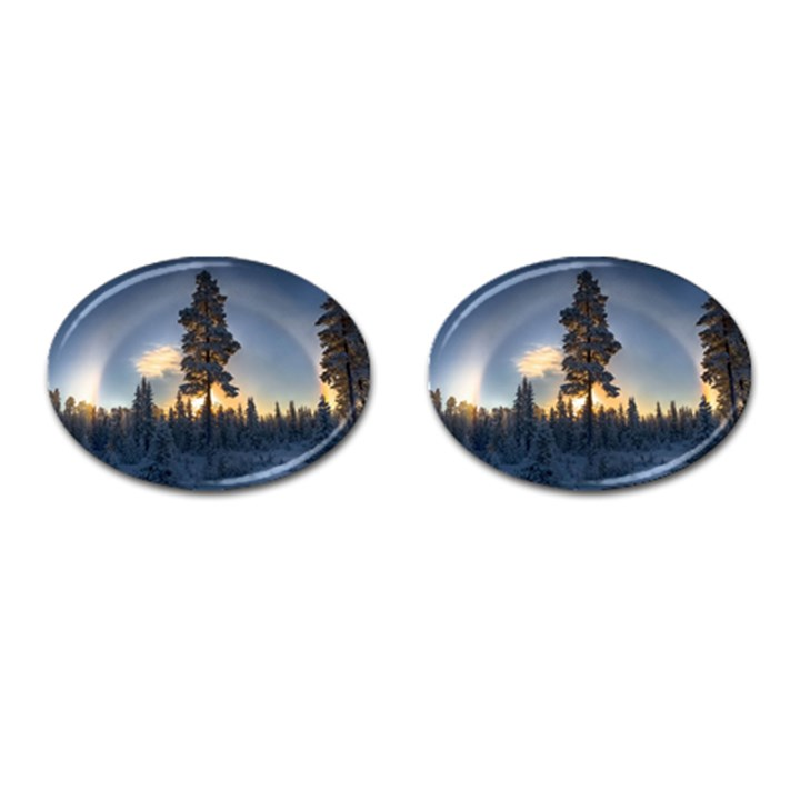 Winter Sunset Pine Tree Cufflinks (Oval)