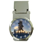 Winter Sunset Pine Tree Money Clip Watches Front
