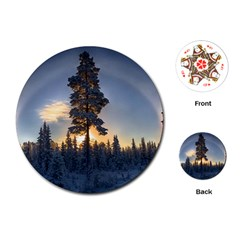 Winter Sunset Pine Tree Playing Cards (round) by Alisyart