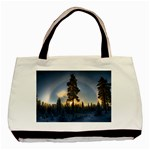 Winter Sunset Pine Tree Basic Tote Bag Front
