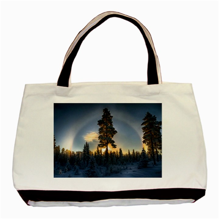 Winter Sunset Pine Tree Basic Tote Bag