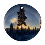 Winter Sunset Pine Tree Round Ornament (Two Sides) Front