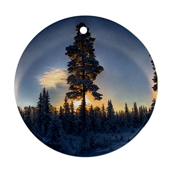 Winter Sunset Pine Tree Round Ornament (Two Sides)