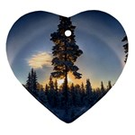 Winter Sunset Pine Tree Heart Ornament (Two Sides) Front
